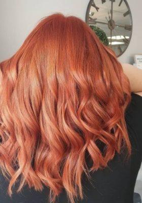 coral hair colour at Urban Coiffeur hair salon in Wolverhampton