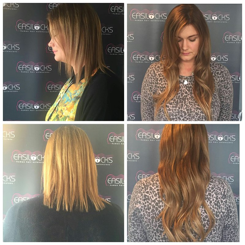 Before and After Easilocks Hair Extensions at Urban Coiffeur Salon in Wolverhampton